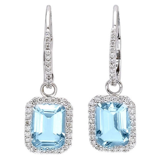 624d83694 14k White Gold Over Silver Jewelry Aquamarine Emerald Cut Diamond Earrings