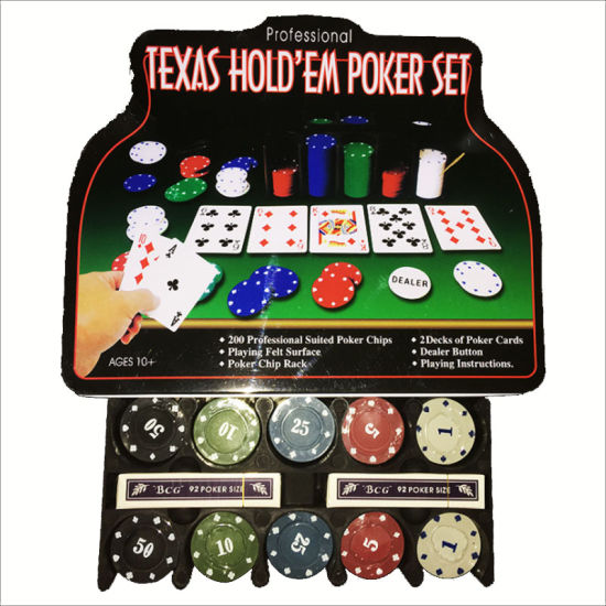 Poker Chip with 200 Chips Tablecloths Poker Cards Tinplate Box Packaging
