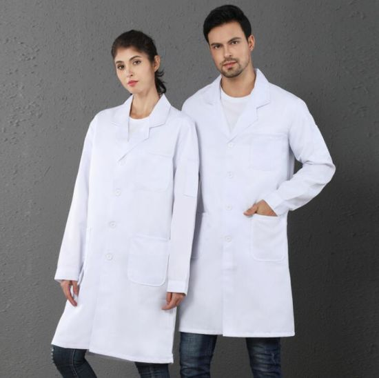 Professional Men Women Nurse Medical Doctor Uniform White Lab Long Jacket Coat