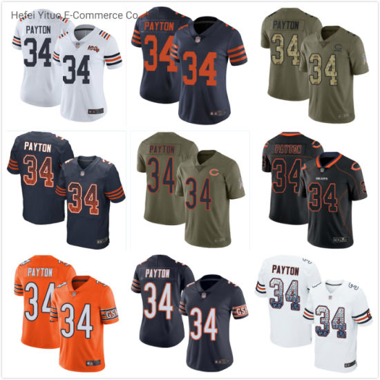 Chicago Wholesale 34 Payton Knitted Fabrics Soft Fit Football Jerseys Garment