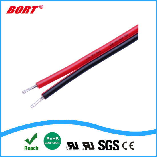 10m Length Stranded UL 2468 PVC 2p Red Black Flat Ribbon Wire Cable (24AWG)