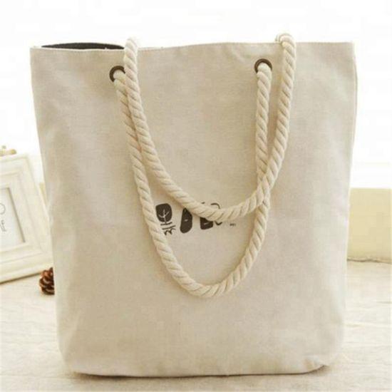 White Plain Shopping Shoulder Tote Shopper Bag Cotton Canvas Bag Gift Hot Sale