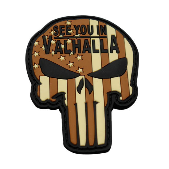 3D Skull Shaple Tactical Morale PVC Badge Us Army Morale Rubber Patch for Garments
