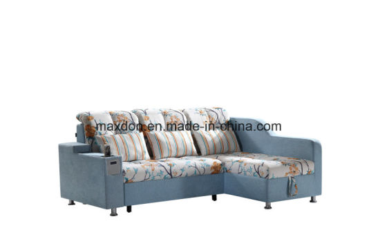 Living Room Fabric Coner Sofa Bed With Storage Box