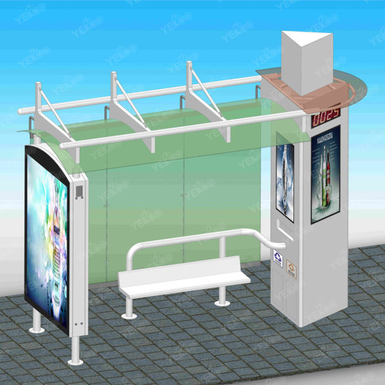 Digital Bus Stop Shelter with Advertising Light Box for Outdoor