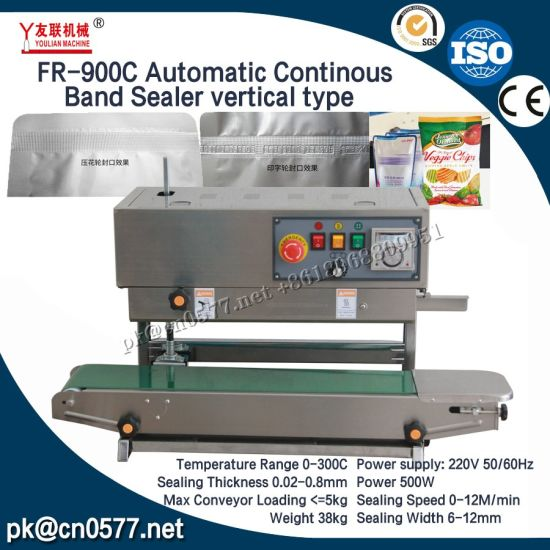 Automatic Continous Band Sealer Vertical Type for Plastic Bags (FR-900C)