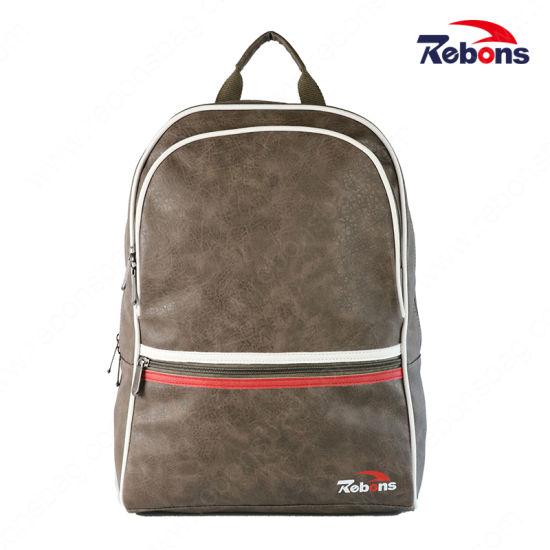 New Designed Men PU Leather Sport Backpack Bag for Travel School