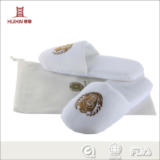 Hot Sale, Good Quality White with Logo Customized Home Bedroom Women Flat Lady Slippers