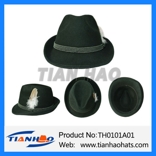 Germany Wool Felt Fedora Trilby Mountain Alpine Hat with Rope and Feather f439d7e1d05