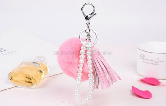 Beauty Female Key Chain Ornaments Bag Pendant Cute Key Ring Hairy Key Chain pictures & photos