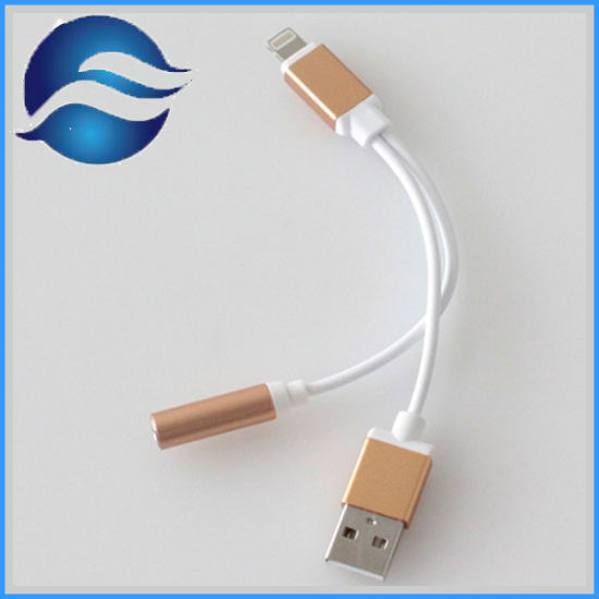 2 in 1 Data Cable to 3.5mm Audio Earphone Adapter USB Charger Plug for iPhone 7