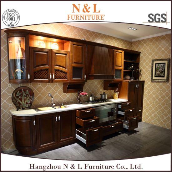 Kitchen Cabinet Solid Wood, Retro Wooden Kitchen Cabinets