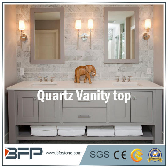 Light Color of China Quartz Vanity Tops for Bathroom Furniture pictures & photos