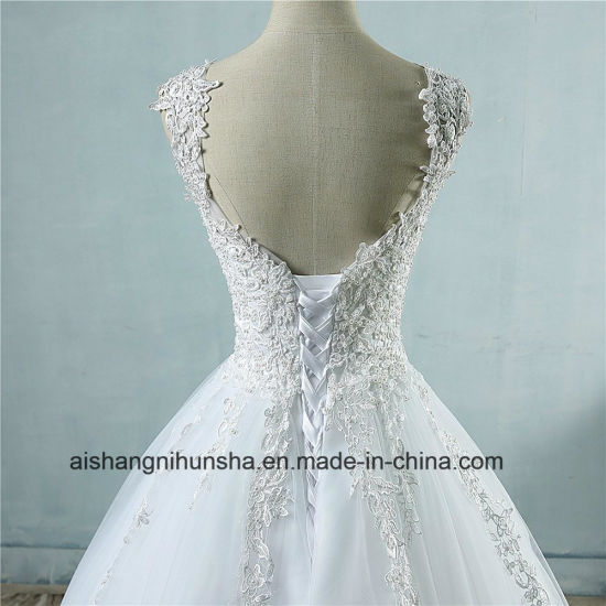 Pearl Crystal Bridal Lace Wedding Dress Lace up Back pictures & photos