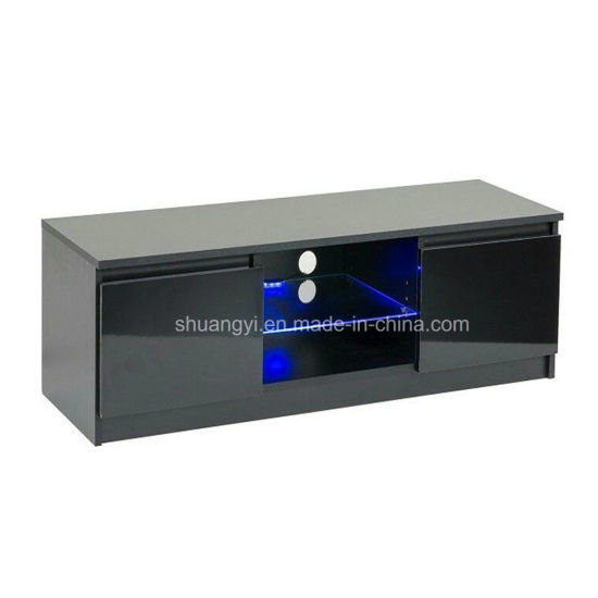 Black High Gloss Led Tv Cabinet Unit Stand