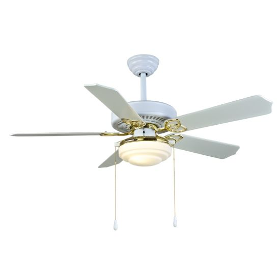 """52"""" Ceiling Fan with Lighting White and Gold"""
