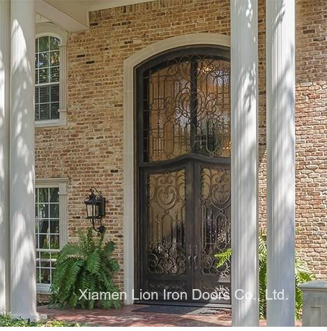 Classical Popular Design Wrought Iron And Glass Entry Doors