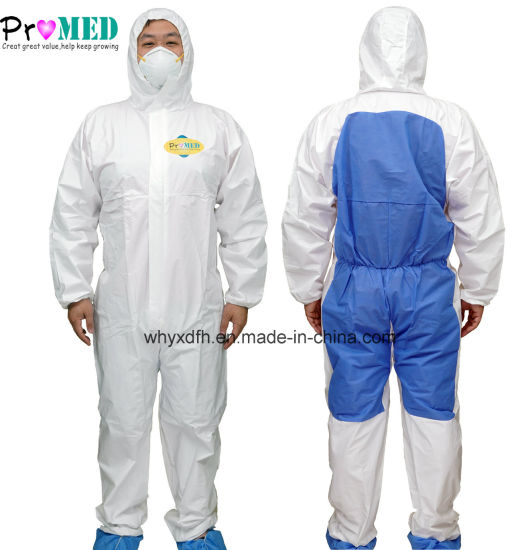 Single use Microporous PLUS SMS breathable waterproof Protective Clothing Safety Disposable Micro Film Coverall
