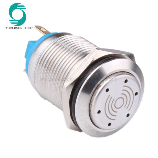 19mm 2pin Terminal 12V 24V 220V Metal Ring LED Light Shinning Buzzer Smart Switch