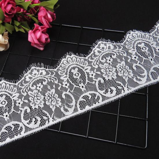 High Quality White Black Eyelash Lace Trims for Clothing
