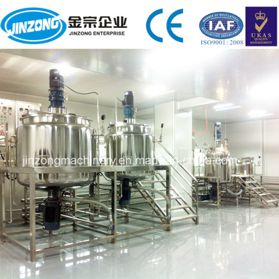 Low Viscosity 3 Layers 500L-5000L 304L/316L Liquid Detergent Soap Making Machine, Cosmetic Mixing Tank with Agitator Homogenizing Skincare Mixer Machine