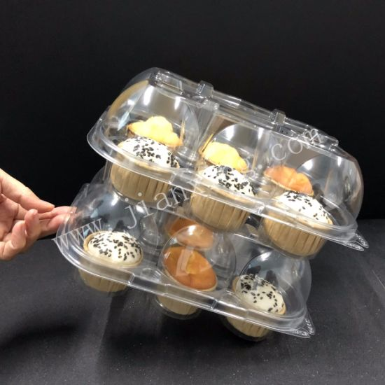 6 Unit Clear Plastic Hinged Cupcake Box Clamshell Cupcake Container pictures & photos