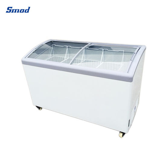 200-300L Curved Glass Door Ice Cream Display Chest Freezer