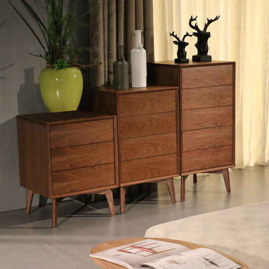 Nordic Wooden Home Furniture MDF Veneer Side Cabinet with Drawers
