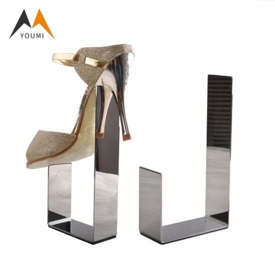 Adjustable Luxury Black Stainless Steel Retail Shoe Rack Display