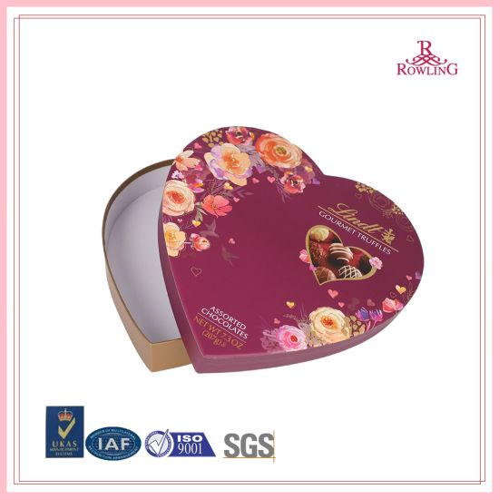 High Quality Heart Shape Cardboard Gift Paper Box for Chocolate Packaging