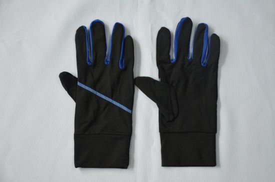 BSCI Black and Blue Reflective Polyester Adult Sport Bicycle Gloves pictures & photos