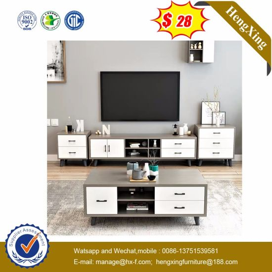 Modern Wholesale Price Wooden with Glass Top TV Stand for Plywood Coffee Table (UL-1162)