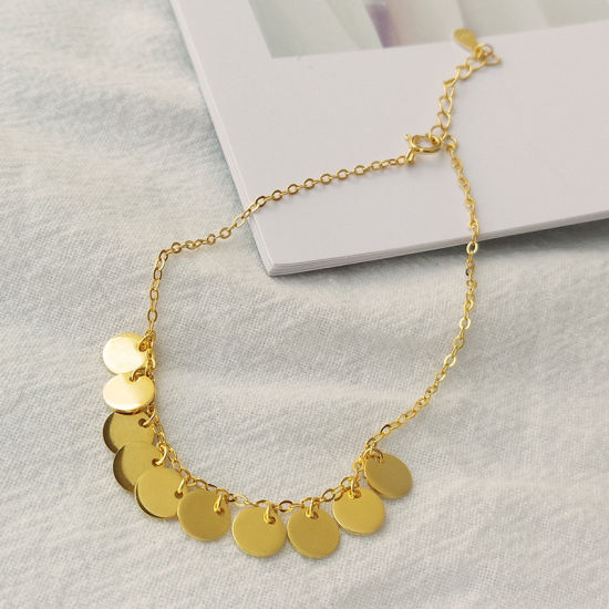 S925 Silver Necklace Female Fashion Golden Wafer Pendant pictures & photos