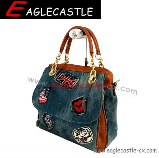 Popular Lady Fashion Casual Demin Patching Design Satchel Handbags (CX19074)