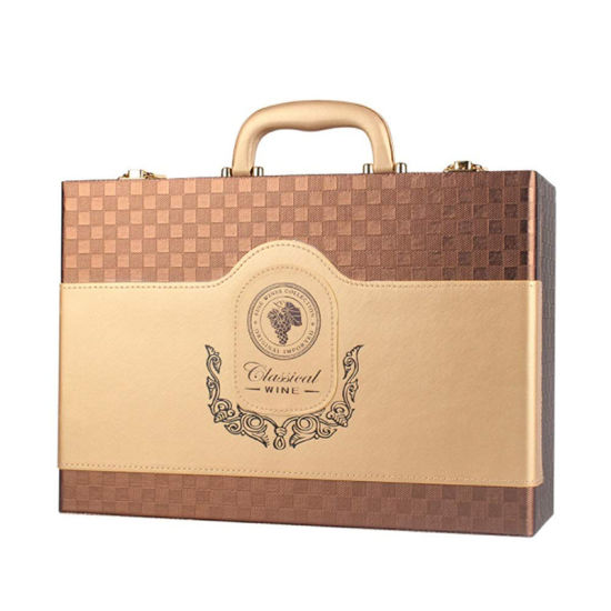 Wholesale Portable Classical Large Wine Box for Party Ceremony Housewarming Celebration Wedding Gift Packaging
