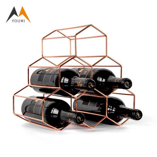 Modern Stackable Golden Honeycomb Shape Metal Wine Display Rack