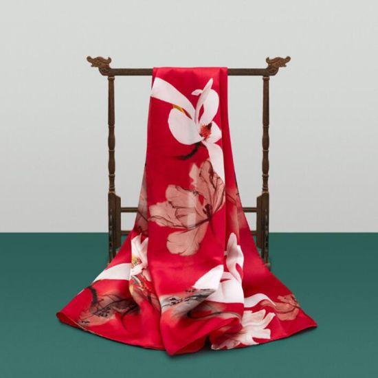 100% Silk Chiffon Long Scarves Sublimation Printed Custom Silk Scarves