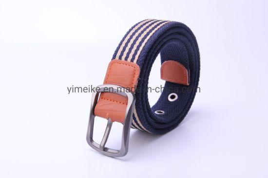 Cow Split Leather Alloy Buckle Striped Design Men Casual Fabric Belt
