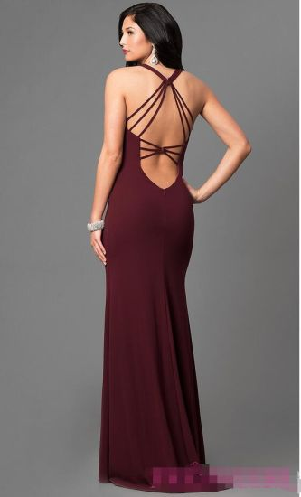 2017 Open Back V-Neck Long Evening Party Prom Dress Pg003 pictures & photos