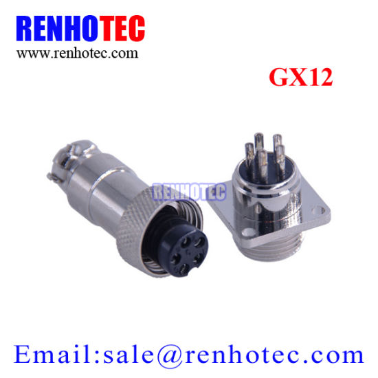 Gx12-4 4 Pin Male 12mm Flangle Type Panel Connector Adapter Aviation Plug