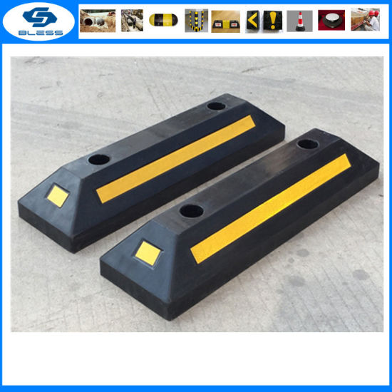 Black and Yellow Reflective Rubber Parking Wheel Stops pictures & photos