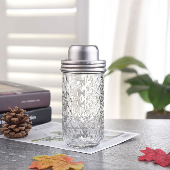Mason Shaker Jar Drinking Glass with Lid/Glass Drinking Jar