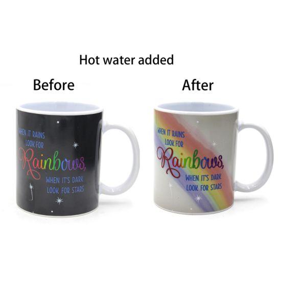 Rainbow Ceramic Coffee Mug In Heat Sensitive Color Changing Paint