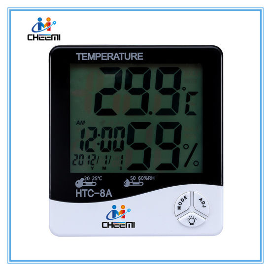 HTC-8A Digital Luminous Electronic Hygrometer Thermometer Temperature Humidity Tester with LCD Backlight & Clock pictures & photos