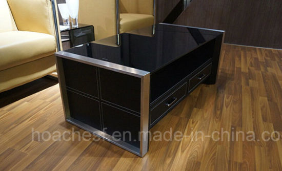 High Class Coffee Table with Black Tempered Glass (CT-V1) pictures & photos