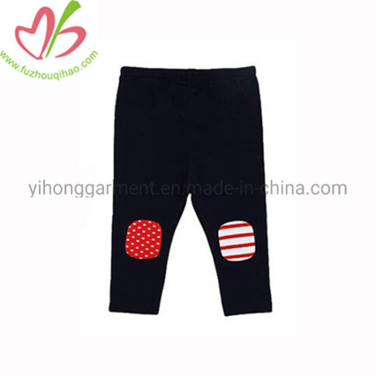 Custom Simple Cotton Pencil Baby Pants with Applique Patch