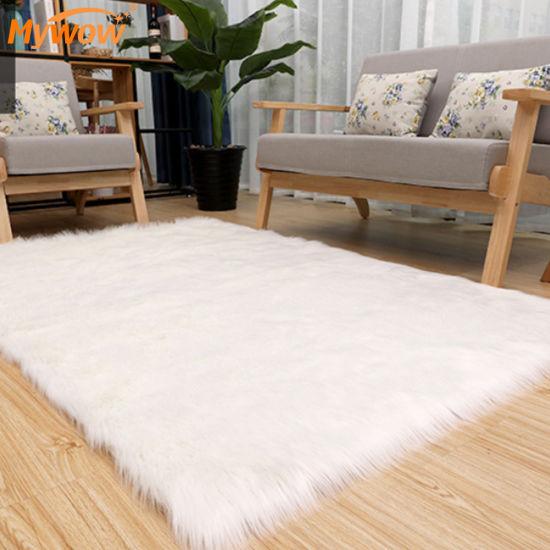 Carpet Washing Machine 100% Acrylic House Decoration Shaggy Plush Rug Bedroom Carpets Faux Wool Plush Rug