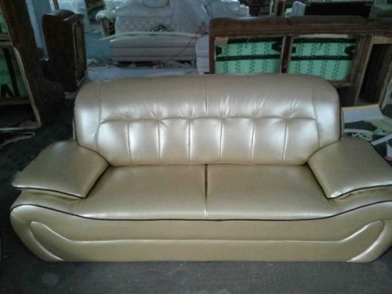Champagne Color Leather Sofa, iPhone Luxury Gold Color Modern Sofa (C37) pictures & photos