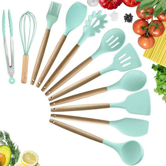 11PCS/Set Kitchen Utensils Wooden Handle Silicone Cooking Set