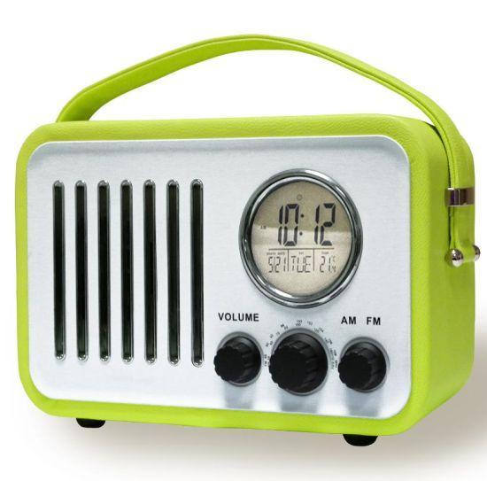 China High End Wooden Leather Portable, Retro Radio Alarm Clock